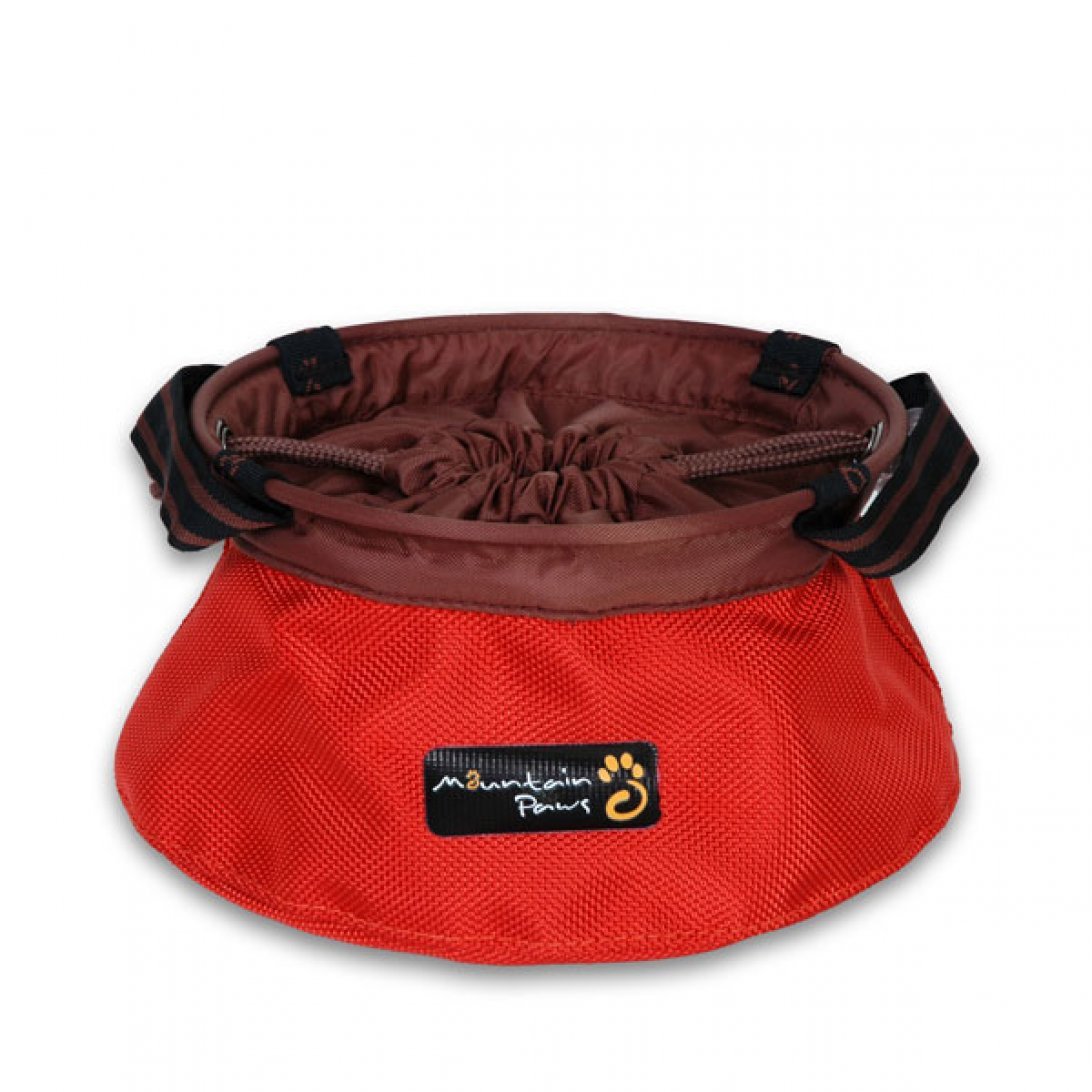 Red portable dog bowl