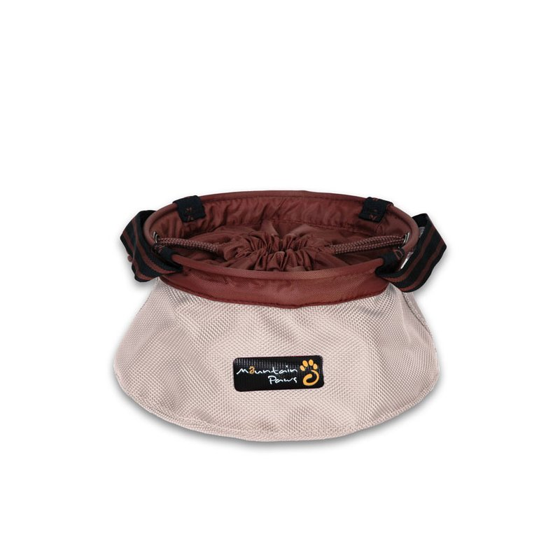 Beige portable dog bowl